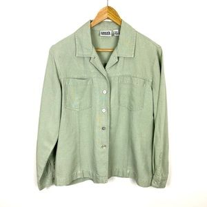 Chico's Shirt  Sz 1 = Size 8 or M Green Jacket